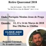Retiro Quaresmal 2018 Inscrições
