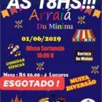 Missa dia 01/06 será às 18hs e Mesas esgotadas da festa junina