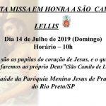 Santa Missa pelos enfermos em honra a São Camilo de Lellis. DOMINGO dia 14 às 10hs