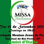 Domingo dia 15 de Setembro às 19h30 Missa Italiana