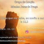 Grupo de oraçao –  04/08 às 20hs ao vivo pelas redes sociais.
