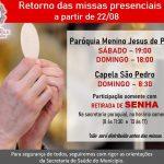 Retorno das missas presenciais a partir de 22/08/2020