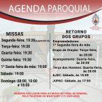 Novos horários das missas presenciais e grupos