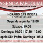 Novos horários de missas da paróquia a partir do dia 18/04/2021
