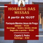 NOVOS HORÁRIOS DE MISSAS A PARTIR DE 10/07